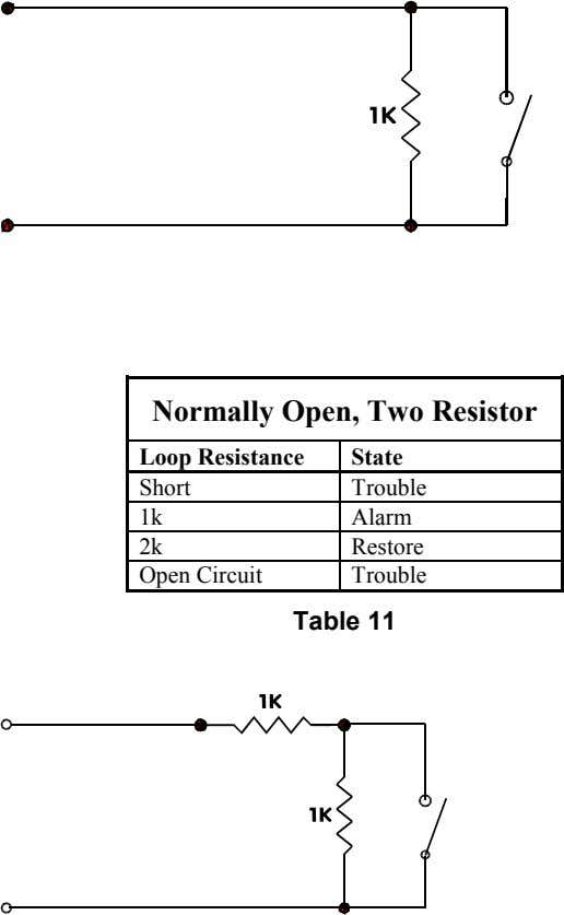 Normally Open, Two Resistor Loop Resistance State Short Trouble 1k Alarm 2k Restore Open Circuit