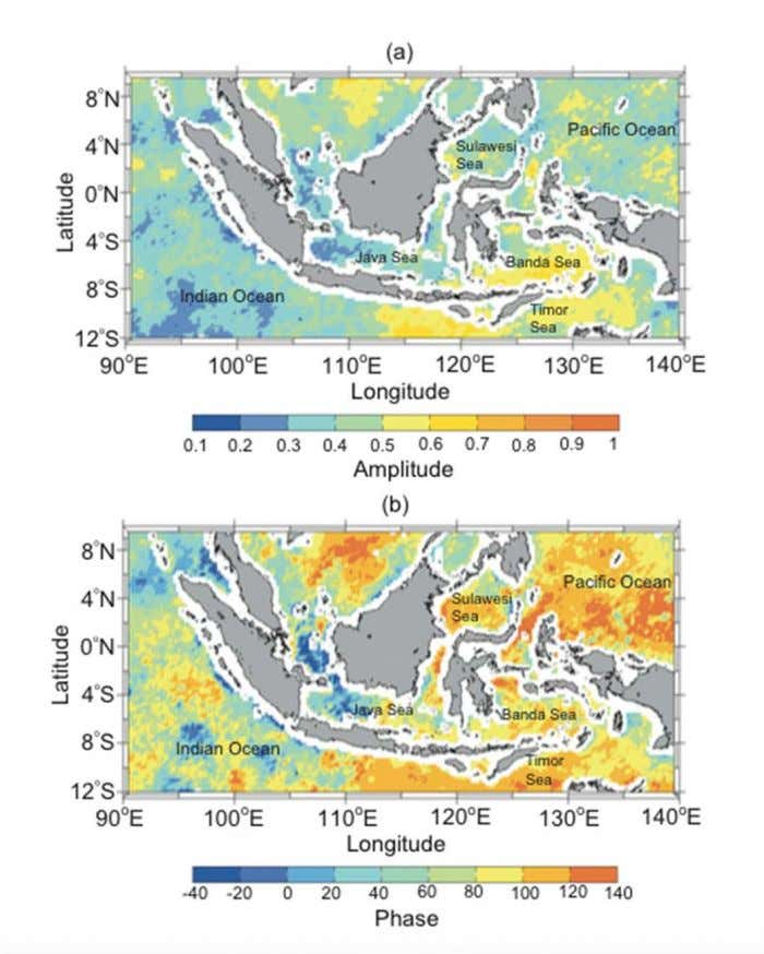 Intraseasonal SST Coherence of SST and OLR at intraseasonal timescales. Highest amplitude in Banda Sea and