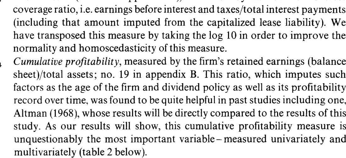 measure is unquestionably the most important variable-measured univariately and multivariately (table 2 below).