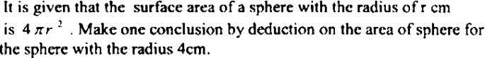 It is given that the surface area of a sphere with thc radius of r