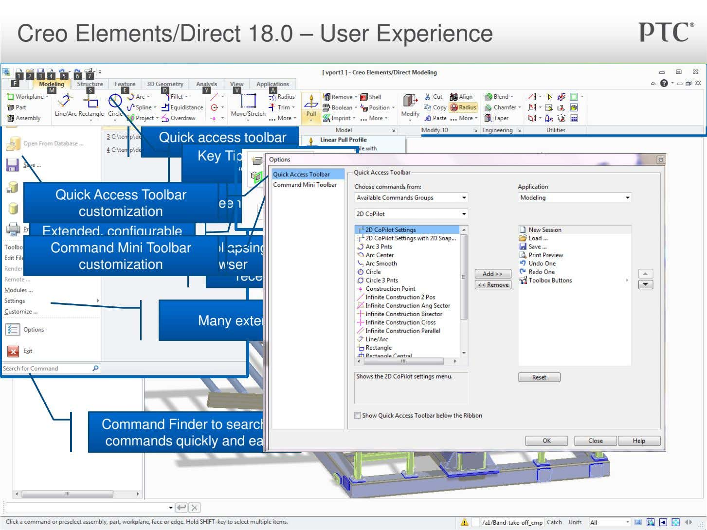 "Creo Elements/Direct 18.0 – User Experience Quick access toolbar Key Tips invoked with ""Alt"" key"