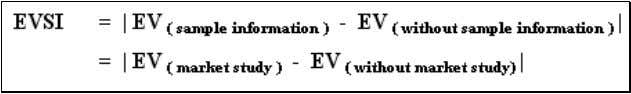 of best decision without market research information. EVSI = = = = | EV (market study