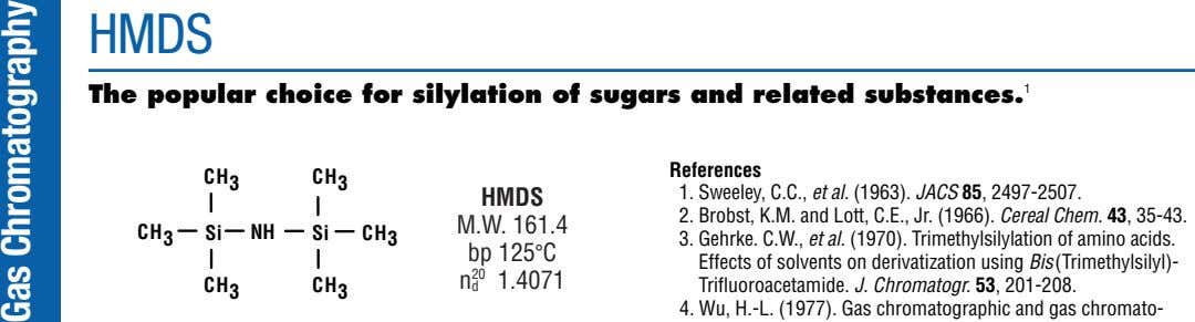 HMDS The popular choice for silylation of sugars and related substances. 1 References CH 3