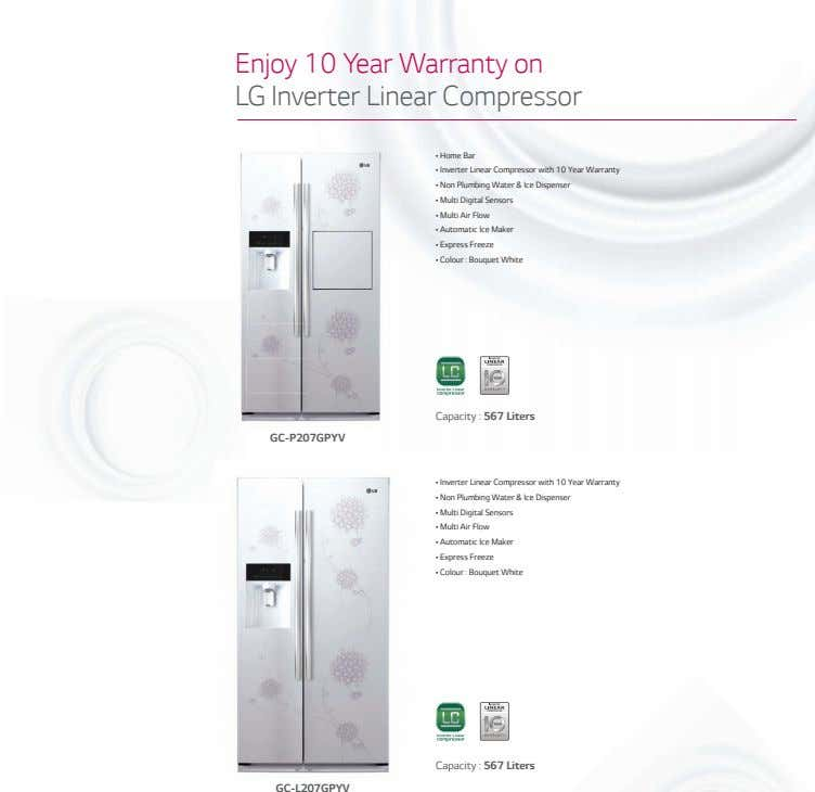 Enjoy 10 Year Warranty on LG Inverter Linear Compressor • Home Bar • Inverter Linear