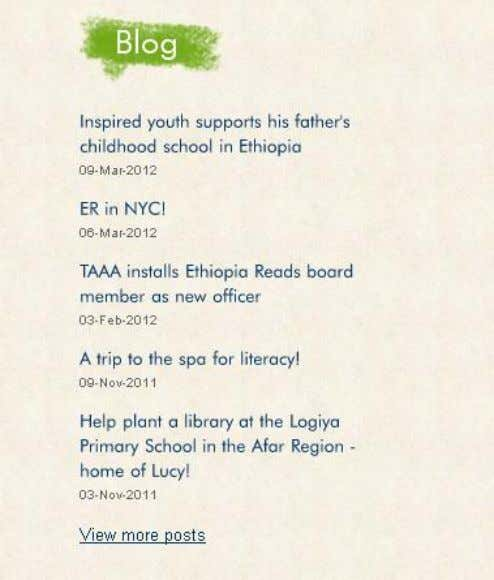 which shows recent Facebook status updates or Blog entries. Here is an example from Ethiopia Reads