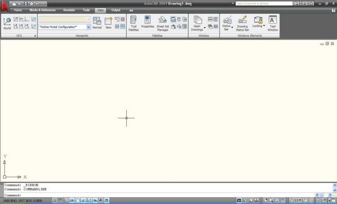 : : interface : : aula 01 A interface do AutoCAD 2009 ou 2010 foi reformulada