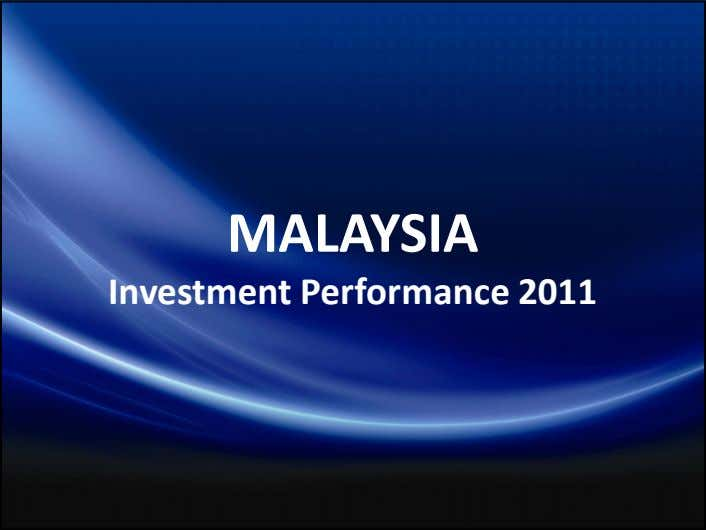 MALAYSIA Investment Performance 2011