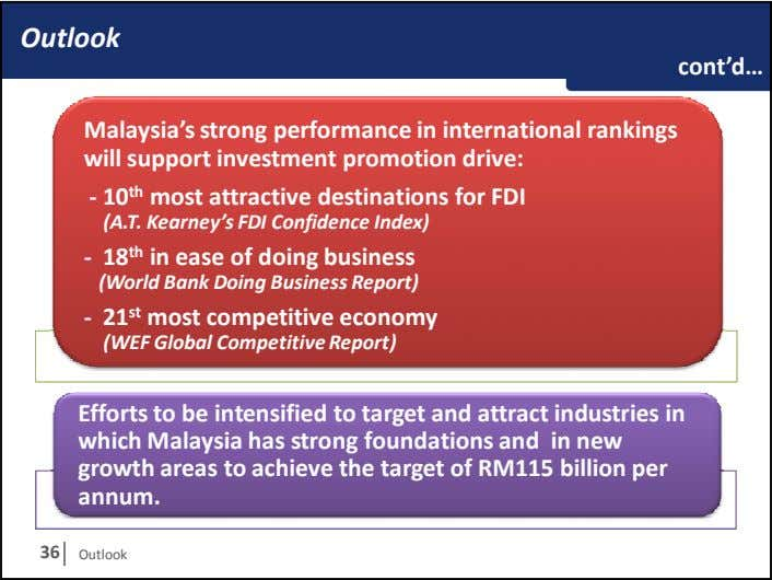 Outlook cont'd… Malaysia's strong performance in international rankings will support investment promotion drive: