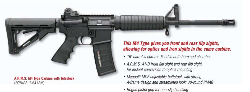 This M4 Type gives you front and rear flip sights, allowing for optics and iron