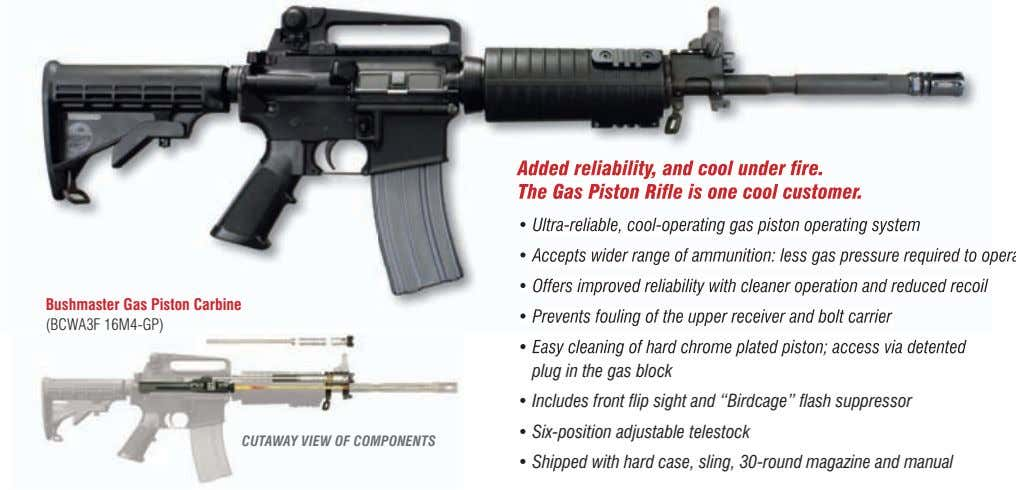 Added reliability, and cool under fire. Added reliability, and cool under fire. The Gas Piston