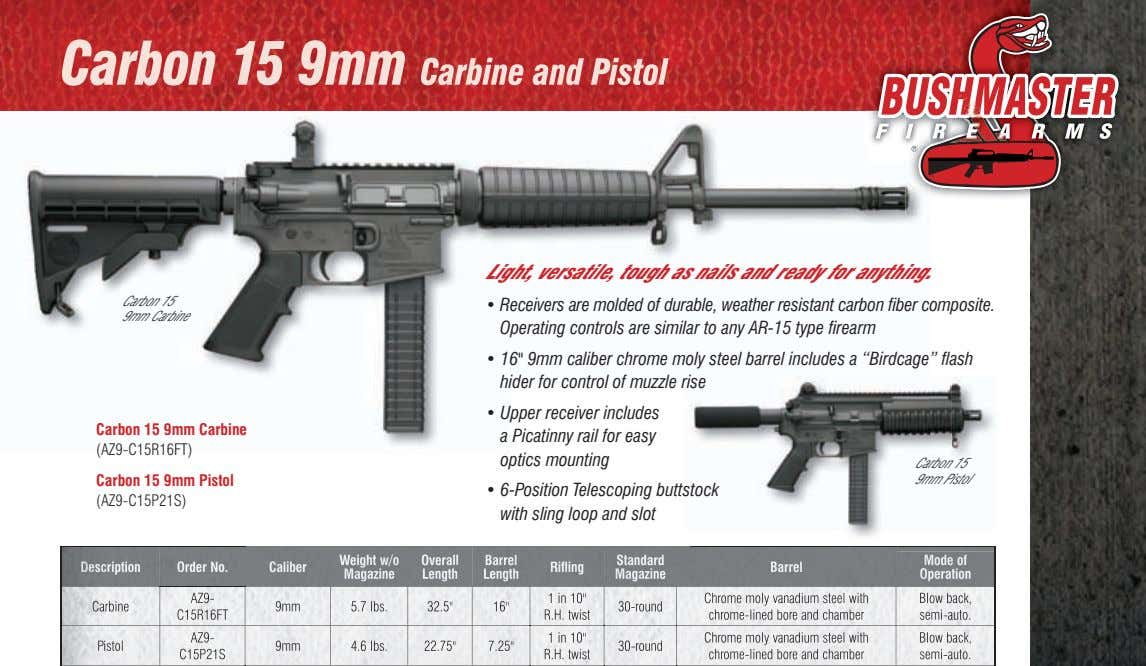 Carbon 15 9mm Carbine and Pistol light, versatile, tough as nails and ready for anything.