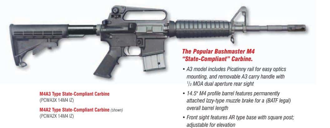 "the popular Bushmaster m4 ""state-Compliant"" Carbine. • A3 model includes Picatinny rail for easy optics"