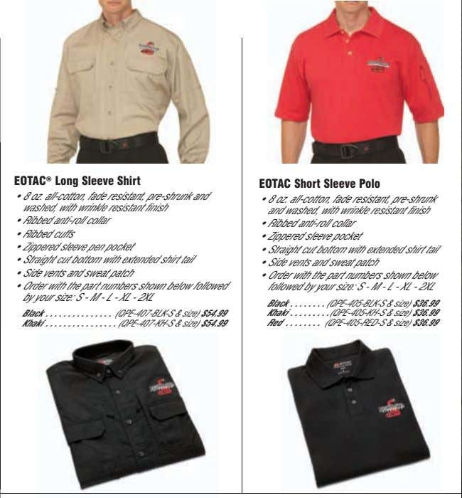 EOTAC ® Long Sleeve Shirt EOTAC Short Sleeve Polo • 8 oz. all-cotton, fade resistant,