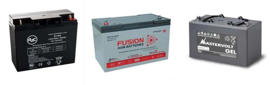 Figure 12: From left to right: Sealed lead acid battery; AGM battery; Gel type battery