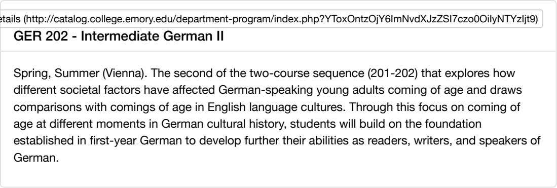 GER 202 - Intermediate German II Spring, Summer (Vienna). The second of the two-course sequence