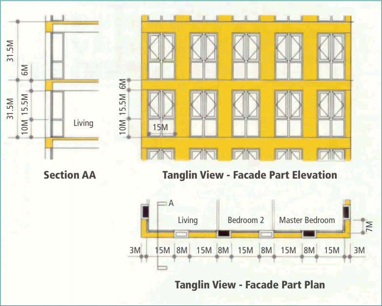 Living 15M Section AA Tanglin View - Facade Part Elevation A Living Bedroom 2 Master