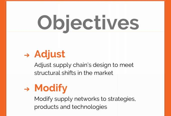 Objectives ➔ Adjust Adjust supply chain's design to meet structural shifts in the market ➔