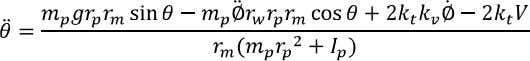 (2.6) When combining the equations (2.3-2.6) an expression for the pendulums angular acceleration can be derived: