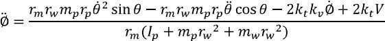By combining equations (2.5) and (2.8-2.10) we get the following expression for the wheels angular acceleration: