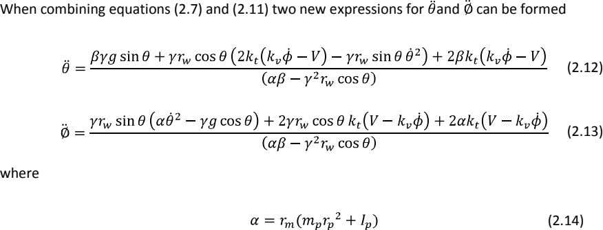 When combining equations (2.7) and (2.11) two new expressions for and can be formed (2.12)