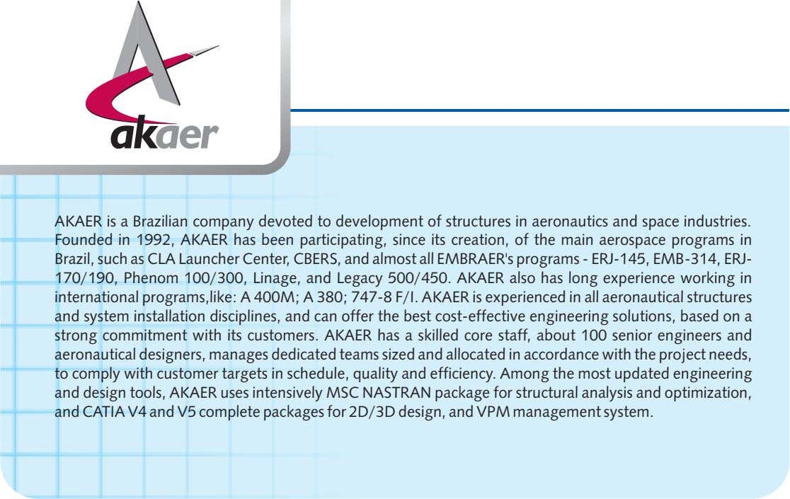AKAER is a Brazilian company devoted to development of structures in aeronautics and space industries.