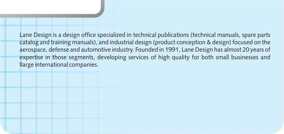 Lane Design is a design office specialized in technical publications (technical manuals, spare parts catalog