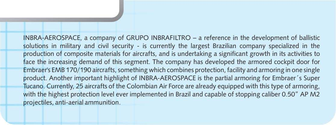 INBRA-AEROSPACE, a company of GRUPO INBRAFILTRO – a reference in the development of ballistic solutions