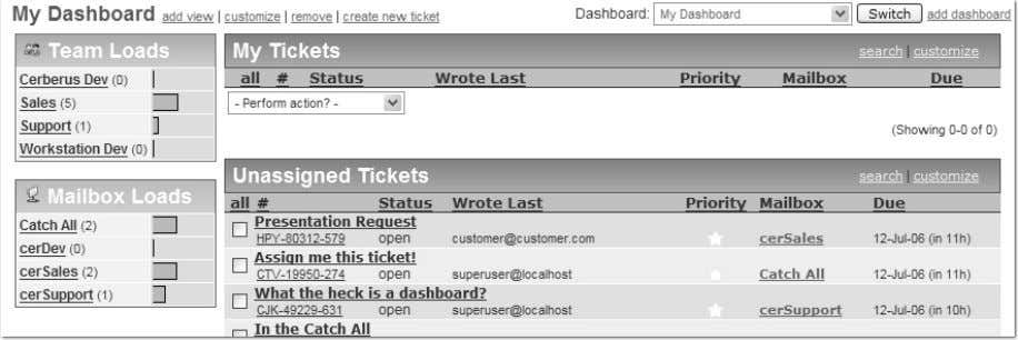 5 Dashboards Add a Dashboard Taking advantage of Dashboards make it easy to organize tickets in
