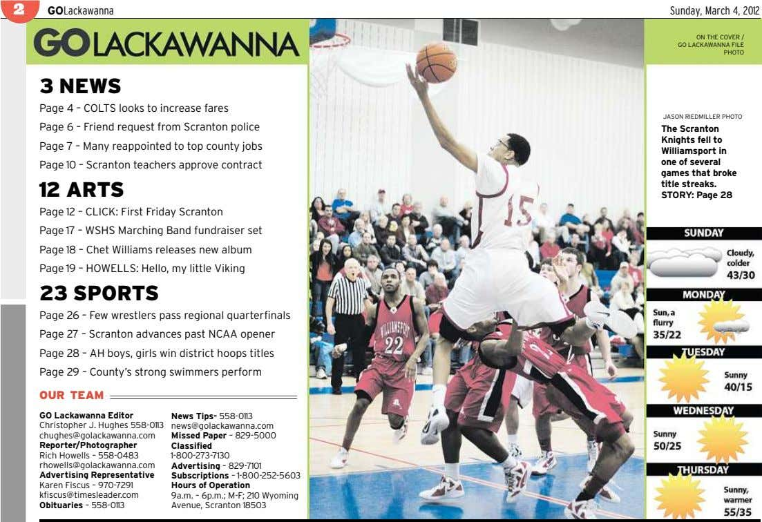 2 GOLackawanna Sunday, March 4, 2012 ON THE COVER / GO LACKAWANNA FILE PHOTO 3