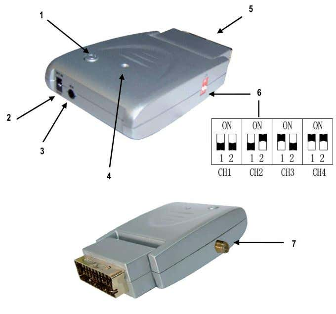 remote control. Description receiver and transmitter: 1. POWER BUTTON 2. DC 7.5V INPUT 3. CONNECTION FOR