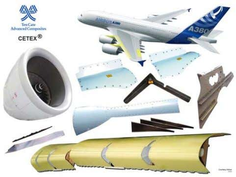 Cetex® reinforced thermoplastic composites are used to make numerous structures on the Airbus A380 aircraft. Ten