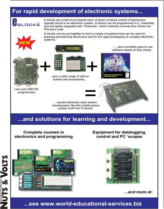 For rapid development of electronic systems e blocks TM E-blocks are small circuit boards each