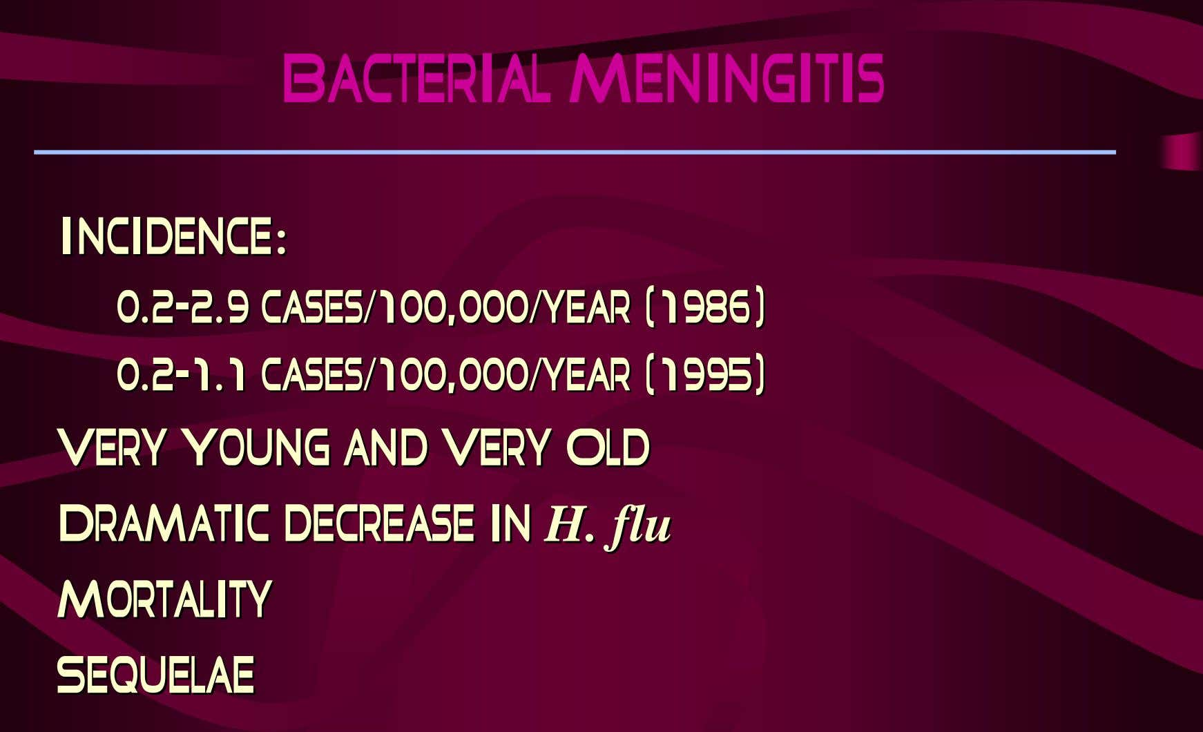 Bacterial Meningitis Incidence:Incidence: 0.20.2--2.9 2.9 cases/100,000/year cases/100,000/year (1986) (1986)