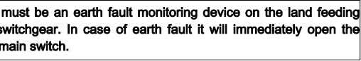 There must be an earth fault monitoring device on the land feeding point switchgear. In