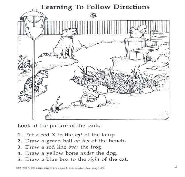 Examples of following the directions.