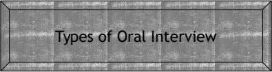 Types of Oral Interview
