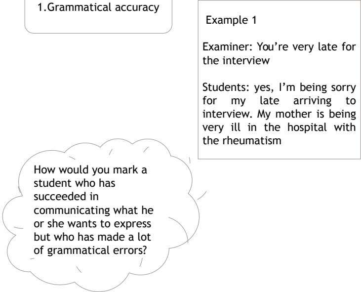 1.Grammatical accuracy Example 1 Examiner: You're very late for the interview Students: yes, I'm being sorry