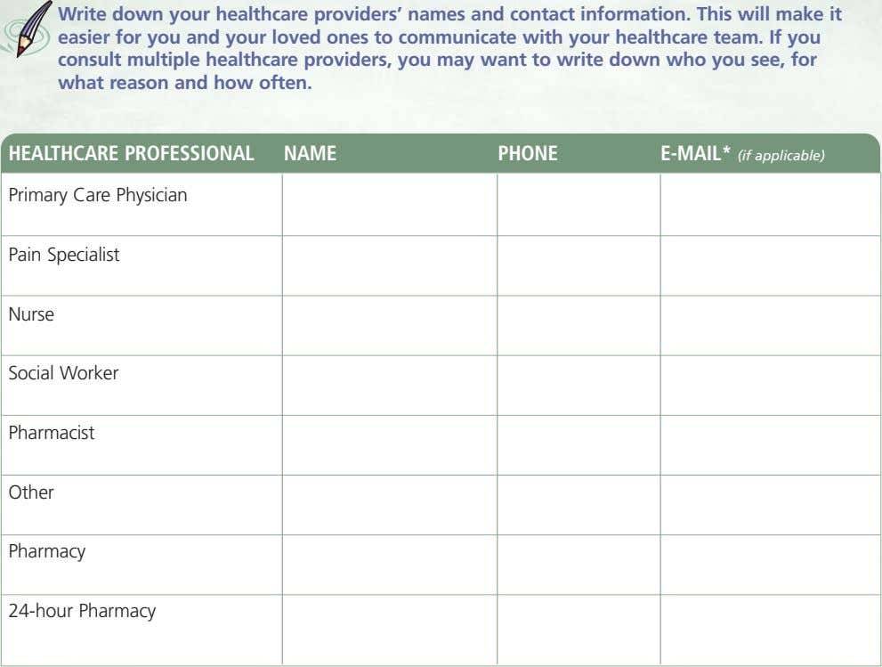 Write down your healthcare providers' names and contact information. This will make it easier for