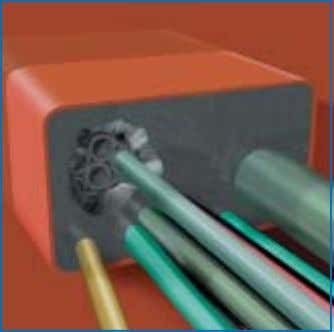 penetration. The position of anticipated future cables is 3) Pull the cable through one of the