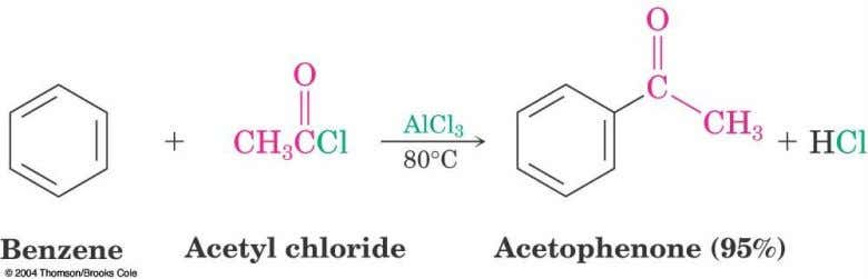 16.4 Acylation of Aromatic Rings  Reaction of an acid chloride (RCOCl) and an aromatic ring