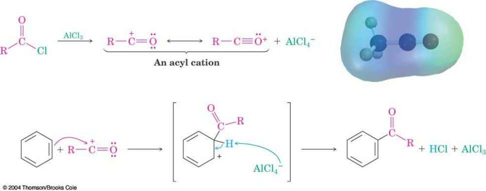 Mechanism of Friedel-Crafts Acylation  Similar to alkylation  Reactive electrophile: resonance-stabilized acyl cation  An