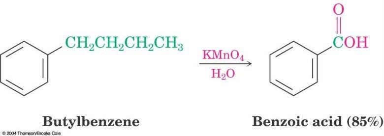 16.10 Oxidation of Aromatic Compounds  Alkyl side chains can be oxidized to  CO H