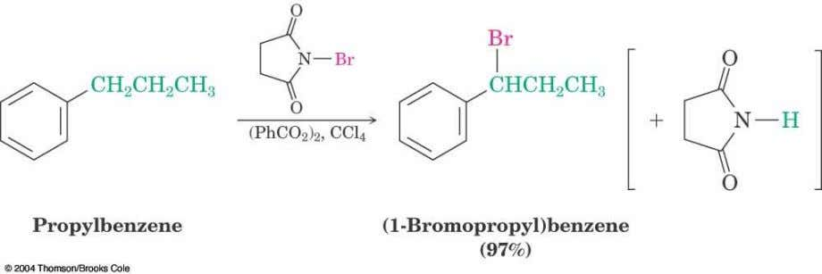 Bromination of Alkylbenzene Side Chains  Reaction of an alkylbenzene with N -bromo- succinimide (NBS) and