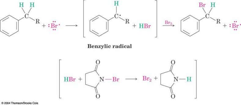 Mechanism of NBS (Radical) Reaction  Abstraction of a benzylic hydrogen atom generates an intermediate benzylic
