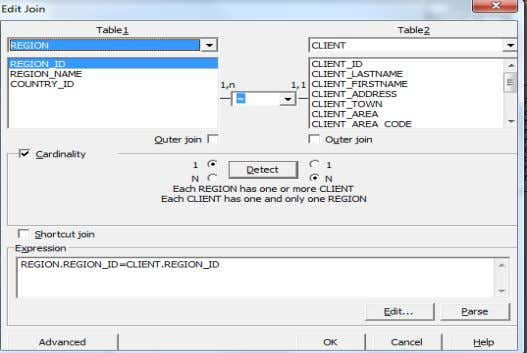 Join dialog box. a. REGION.REGION_ID to CLIENT.REGION_ID 6. Insert the following theta join: a. MODEL.MODEL_PRICE