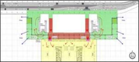which will cater to the projected traffic demand. Existing departure forecourt layout Boarding Gates Capacity