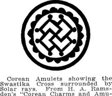 Corean Amulets showing the SwastIka Cross surrounded by Solar rays. From H. A. Rams- den's