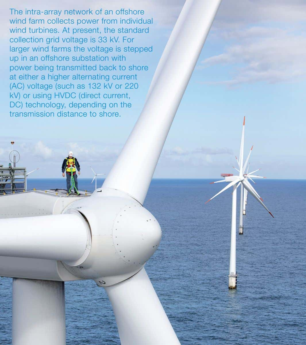 The intra-array network of an offshore wind farm collects power from individual wind turbines. At