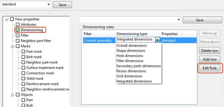 column and the desired dimensioning rule properties file. 4. You can modify the selected rule or