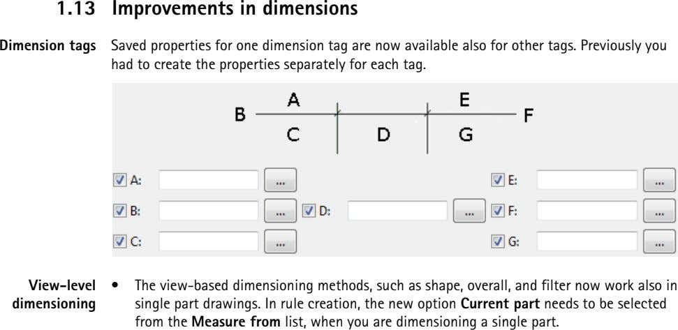 1.13 Improvements in dimensions Dimension tags Saved properties for one dimension tag are now available